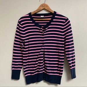 J.Crew Factory navy and pink striped cardigan